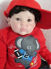 "Reborn 27"" Toddler Boy Doll ""Christopher Cuddles""  Life Like! Dark Hair, br.eyes"