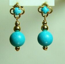 Screw back 14k solid yellow gold gorgeous Turquoise small earrings