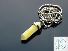 Yellow Jade Crystal Point Pendant Natural Gemstone Necklace Healing Stone Chakra