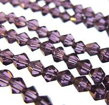 80 + GLASS BICONE BEADS Purple 4mm Faceted 12'' Strand High Quality