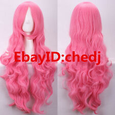 Fashion Cosplay pink red Wig Women Wavy Curly Hair Cosplay Party Long Full Wig