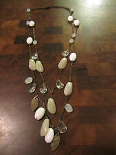 "Double Strand Brass Tone Chain with White Beige & Clear Beads - 31"" long"