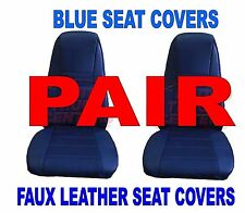Truck Seat Covers w/Pocket - BLUE Faux Leather (PAIR) PB KW FL Semi-Trucks