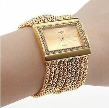Fashion Classic Quartz Women's Gold Silver Rhinestone Alloy Band Bracelet Watch~
