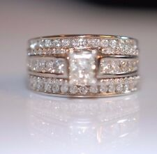 2TCW Radiant Cut Diamond with Princess & Round Accents in 14K White Gold Sz 6.5
