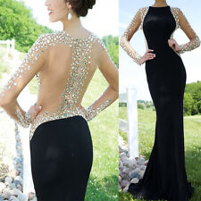 Black Mermaid Formal Evening Gown Crystal Prom Party Dresses with Long Sleeves