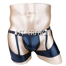 Mens Faux Leather Open Butt G-string Thong Bulge Underwear Jockstrap Briefs