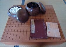 VINTAGE JAPANESE WOOD GO GAME SET BOARD GOBAN CARVED WOOD LEGS & ANTIQUE BOOKS