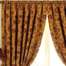 PAOLETTI Curtains Rich Gold & Ruby Heavy Weight Tapestry Period Chenille VGC