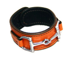 Equestrian Horse Bit Leather Wide Cuff Bracelet Silver Hardware, ORANGE