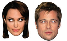 Brad Pitt & Angelina Jolie Official Set of 2 2D CARD Party Face Mask Pack