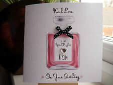Handmade Personalised Female Perfume Birthday Card Daughter Wife Sister Mum 18th