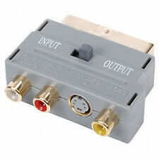 Scart  Plug Adaptor Gold  3x RCA Phono S-VHS S-Video In/Out Switch