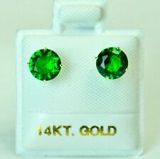 14k solid yell. gold 6mm Emerald stud screw back gorgeouse earrings 1.75 tcw