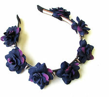 Deep Purple Black Rose Silver Spike Flower Headband Sugar Skull Pastel Goth 1218