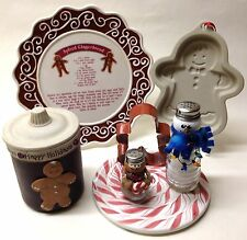 Gingerbread Man & Snow Man Christmas Decor Stoneware Ornament Candle Holder