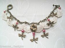 *IVORY LACE ROSE PINK PEARL DRAGONFLY FLOWER CHARM BRACELET* Victoriana GIFT BAG