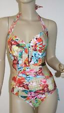 SEAFOLLY *NWT* BAMBOO HALTER MAILLOT SWIMSUIT ~ SZ US 4/AUS 8 ~ BEAUTIFUL!