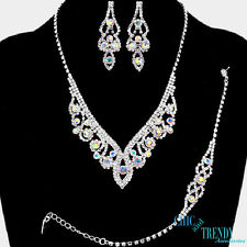 "TRENDY ""3 PC"" AURORA BOREALIS CRYSTAL PROM WEDDING FORMAL NECKLACE JEWELRY SET"