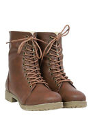 WOMEN Leather Style LOW HEEL FLAT LACE UP BIKER MILITARY COMBAT ANKLE BOOTS SIZE
