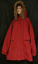 NWT CATHERINES WARM DARK BURGUNDY HOOD FAUX FUR ZIP OUT FLEECE 2FER 4X MSRP $269
