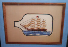 New Vtg Concepts SHIP IN A BOTTLE Crewel Embroidery Kit With Frame & Mat 9x12