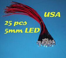 25 pcs  LED - 5mm PRE WIRED LEDS 12 VOLT ~ WHITE ~ 12V PREWIRED