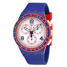 Swatch Fast Server Chronograph White Dial Blue Silicone Mens Watch SUSZ100