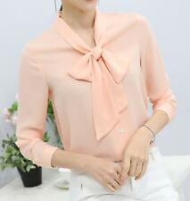 Korean Women Autumn Blouse Bow Collar Chiffon Career OL Shirt Tops High Quality