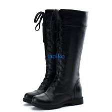 Retro Women's Ladies Lace Up Knee High Riding Knight Flat Boots Shoes Plus Size