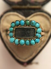 Antique Victorian Memorial Turquoise Hair Locket Front Ring Yellow Gold Pretty