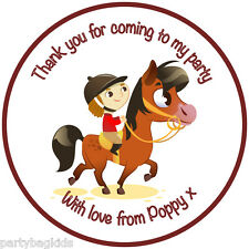 15 x 50mm Personalised Horse Pony Round Labels Party Bag Sweet Cones Seals