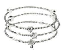 "Steel by Design Set of Three Polished & Crystal Cable 6-1/4"" Bracelets QVC"