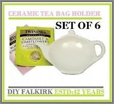 6 Tea Bag tidy Rest Spoon holder White Ceramic Kitchen Home Tea coffee Cooking