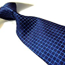 Extra Long Polyester Tie,Microfibre Navy Blue Check XL Men's Necktie PL319 63""