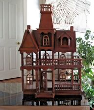 Vtg  Antique Wooden Bird Cage House Vaulted Cathedral Steeple Architectural Wood