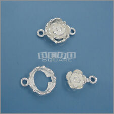 .925 Sterling Silver Flower Floral Toggle Clasp 11mm x 17mm #33209