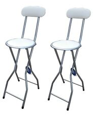 2xCream Padded Folding High Chair Breakfast Kitchen PVC Bar Stool Soft Seat 94cm