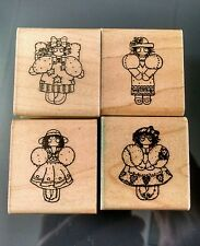 D.O.T.S. Girl Angel Country Ladies Dresses Romantic Friendship Rubber Stamps