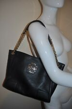 $475+ Tory Burch Small BRITTEN Black Leather Slouchy Tote Chain Shoulder Bag