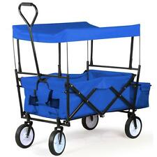 Folding Outdoor Wagon W/ Canopy Garden Utility Travel Collapsible Cart Yard Home