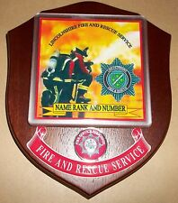 Lincolnshire Fire and Rescue Service wall plaque personalised free of charge..