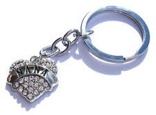 Nana Keyring Chrome Metal Heart Diamondite Chrome Key Chain Gift Boxed