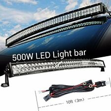 52Inch 500W Flood Spot Curved Led Work Light Bar + 3M Wiring Harness JEEP TRUCK