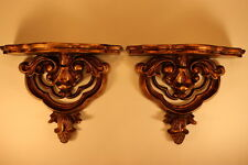 Set of 2 Ornate Wood Gold Plate Grooved Display Shelves Made in Mexico NEW