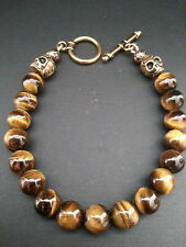 Golden Tiger Eye Day of the Dead Skulls Toggle Bracelet Baby Chrome King
