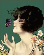 Flapper Butterfly Art Print 8 x 10 - Jazz Age - Art Deco - Whimsical Pin Up