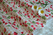 Small Strawberries/Cherries Beiges Gingham 100% Cotton Fabric FQ
