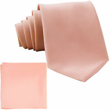 New Polyester Men's extra long Neck Tie & hankie solid formal mauve dusty pink