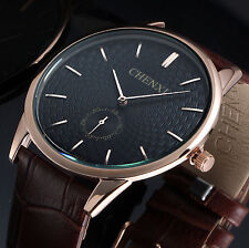 Black Leather Crystal Men's Quartz Watch Strap Band Wrist Fashion Retro Dial